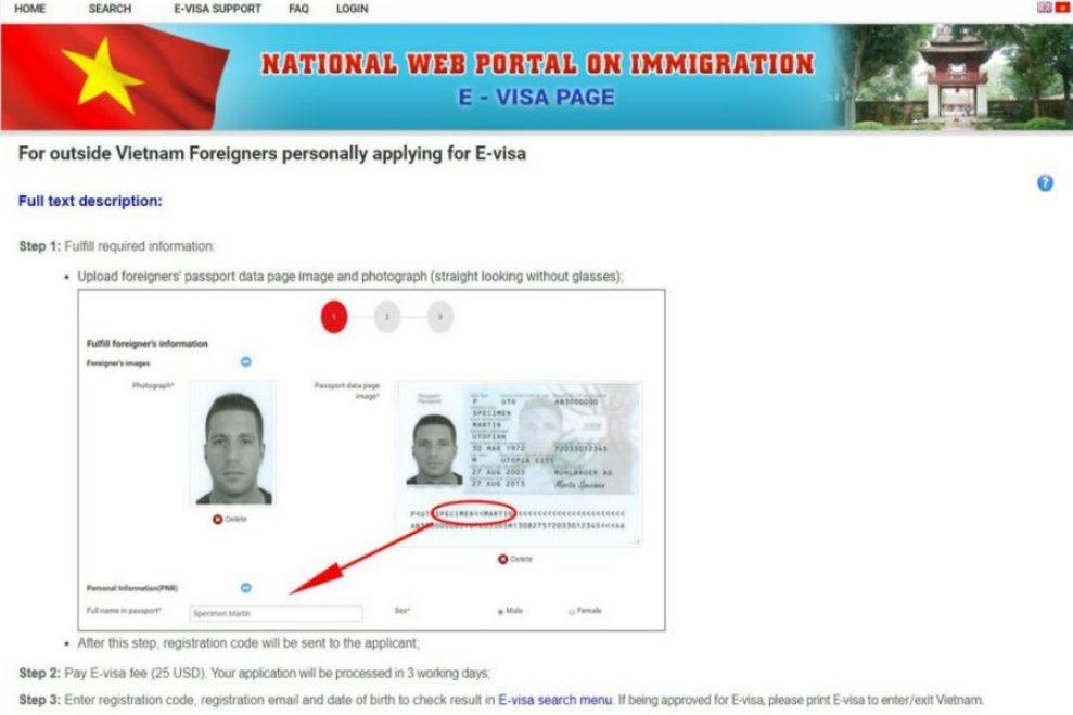 E-Visa Vietnam website