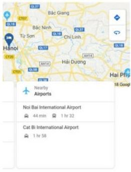Google Hotel Search: Airports nearby