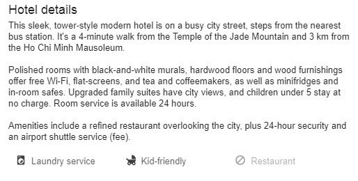 Google hotel meta search:: Hotel description