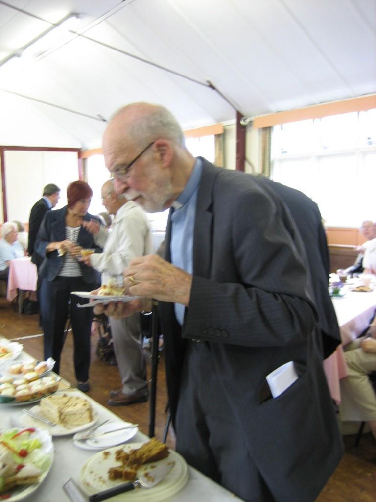Revd. Keith Forecast enjoying tea