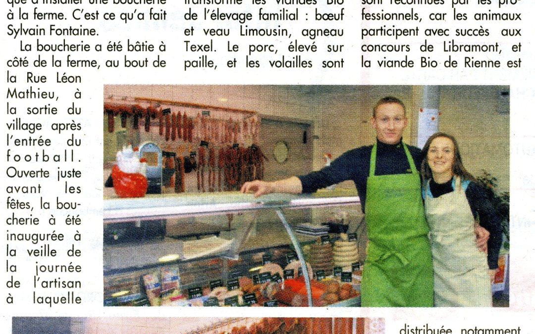 Ouverture d'une boucherie bio à Rienne