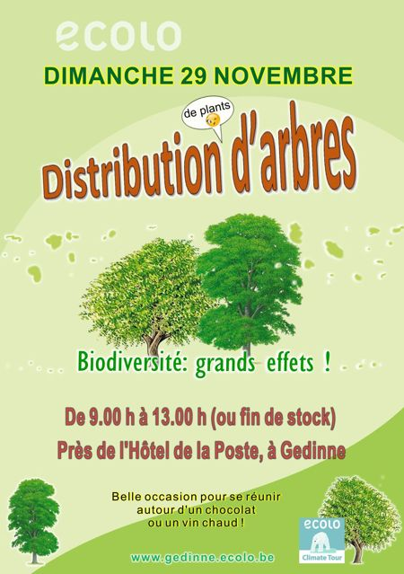 Distribution de plants d'arbres