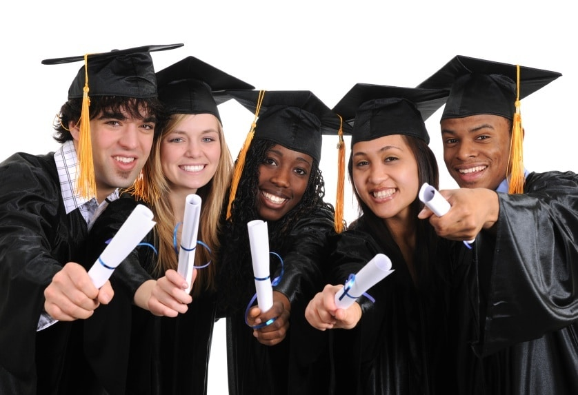 Student Graduating,Holding a diploma,smiling and happy,3 women and 2 men