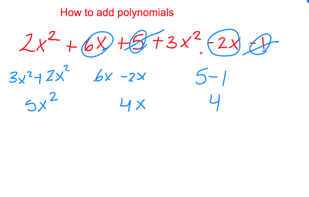 Picture with numbers explains how to add polynomials