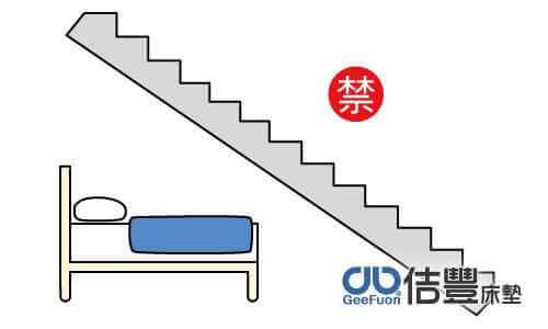 床位在樓梯下方