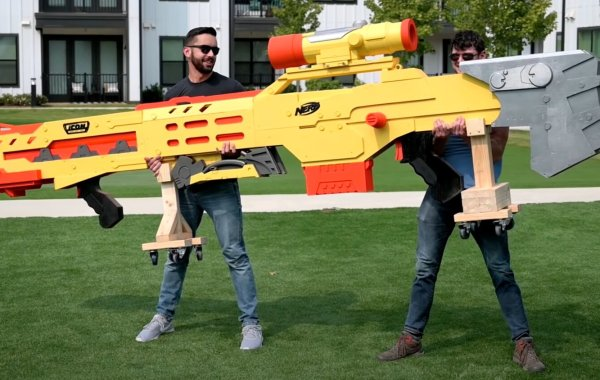 The Largest Nerf Gun In The World Shoots Giant Darts At 50-Miles-Per-Hour