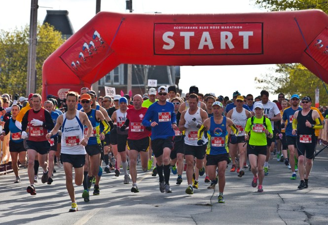 Full marathoners start the 10th annual Bluenose Marathon on Sackville Street.