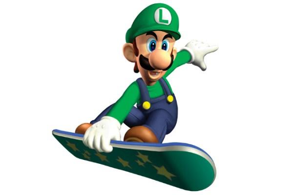Luigi tenta di battere Mario su uno skateboard potenziato