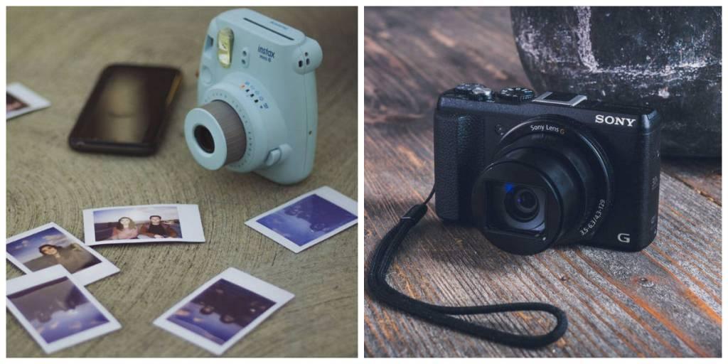 câmera polaroid e câmera point and shoot
