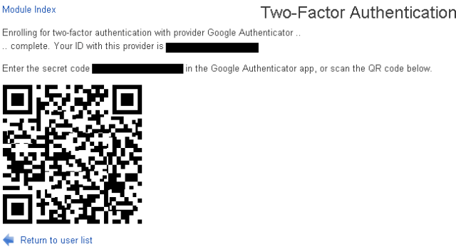 Webmin Two Factor QR code