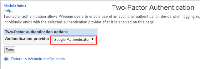 Selecting Google as Provider for authentication