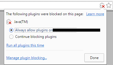 Allow Java from Chrome Warning