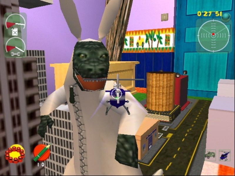 Enemies are usually other toys, like this Godzilla type monster in bunny pajamas. Because, why the heck not?
