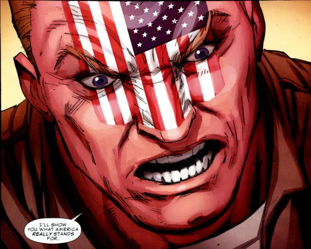 This is what America stands for, Frank – face-tattoos (Art by Ron Garney).