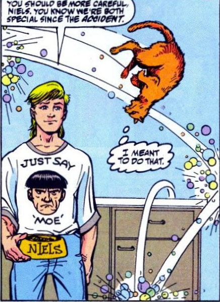 Looks like that accident also affected your hairstyle and clothing choices, Robbie. (Art by Tom Morgan)