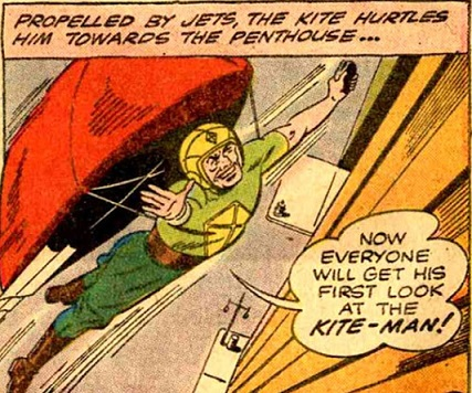 And his first laugh at the Kite-Man! (Art by Dick Sprang)