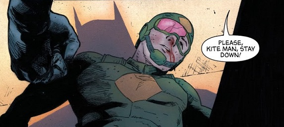Batman knocked the wind out of his kite, man. (Art by Clay Mann)