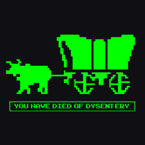 Oregon trail screenshot of You have Died of Dysentary scene.