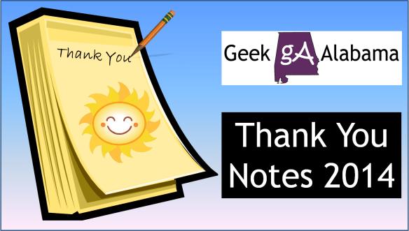 Geek Alabama Thank You Notes 2014