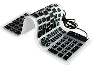 YUMQUA Portable Wired USB Flexible Foldable Silicone Keyboard Soft Waterproof Roll up 107 Keys
