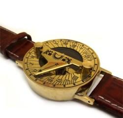 Dark Tan Leather Bracelet Steampunk Sundial Compass Wrist Watch