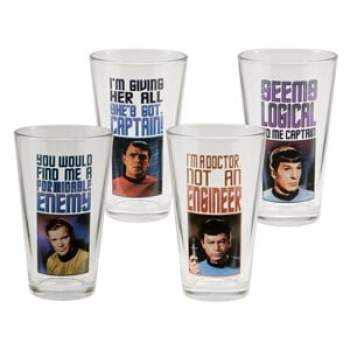 Star Trek 4 Pc 16 Oz. Glass Set