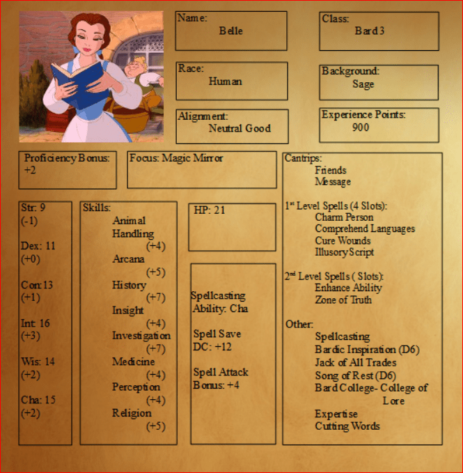 When You Wish Upon A Star You Get These Disney Princess DampD Character Sheets Geek And Sundry