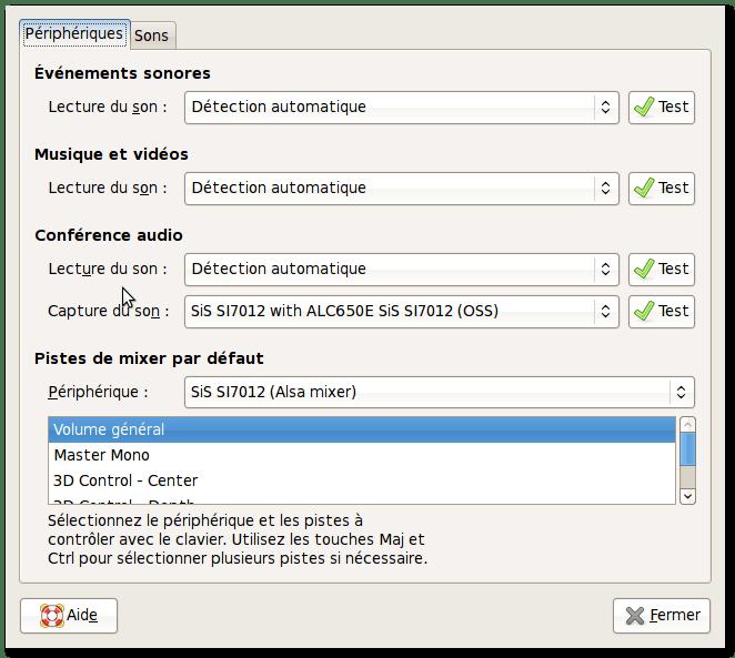 Préférences du son (menu Système>Préférences>Sons)