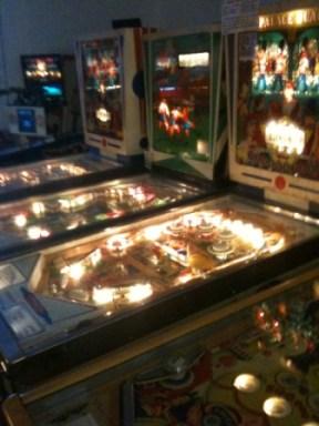 Line of Pinball Machines