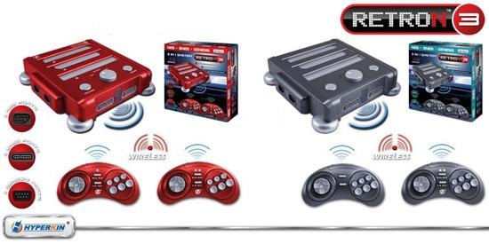 La console RetroN3 en gris et en rouge