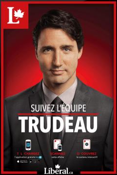 Utilisez l'appli LAYAR sur cette image pour voir apparaitre une vidéo du parti libéral sur votre téléphone portable