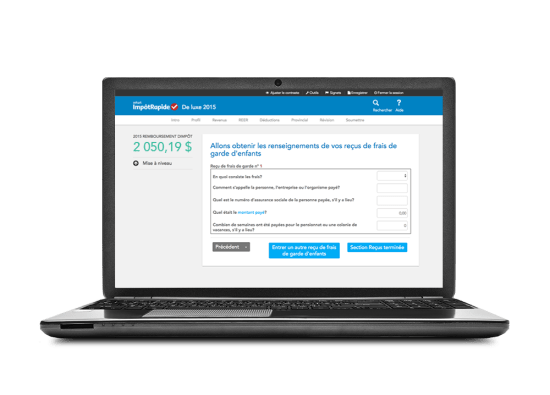 Interface du logiciel ImpôtRapide