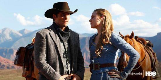 James Marsden et Evan Rachel Wood dans une scène de la nouvelle série Westworld.