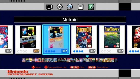 Le menu de la NES Classic Edition est très simple d'utilisation. On peut avoir quatre sauvegardes par jeu.