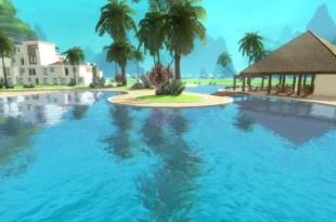Vue depuis une piscineConcept du mini-jeu d'insecticide - Beach Bum Games