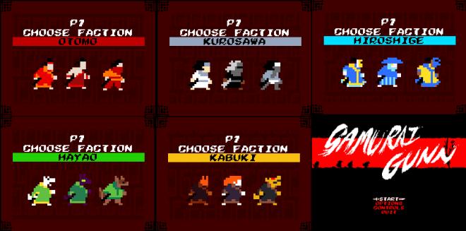 Les personnages disponibles.   Samurai Gunn