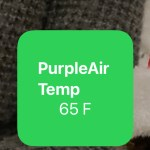 "Green background widget in iOS 14 - reading ""PurpleAir Temp 65F"""