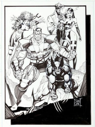 jim-lee-original-art-x-men-pinup