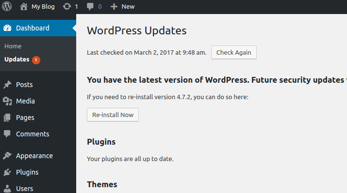 Keeping WordPress Updated