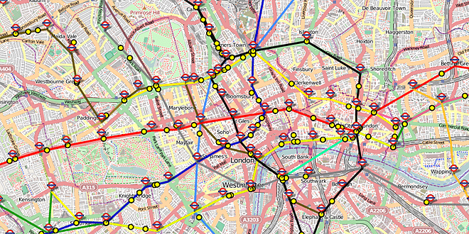 """Map of London Showing """"Live"""" Positions of Underground Trains © Matthew Somerville"""
