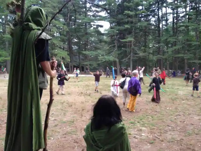 A tree spirit watches over the action at the Reading, MA, location. (Photo: Ethan Gilsdorf)