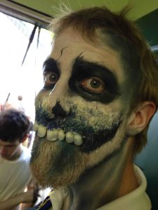 An example of the creepy undead make-up effects on a non-player character -- and a foe for the young campers. (Photo: Ethan Gilsdorf)