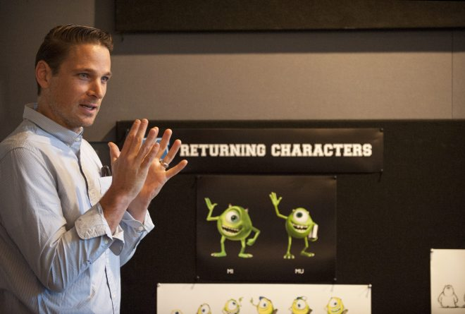 Character Art Director, Jason Deamer talks to press about character design at Monsters University Long Lead Press Days. Emeryville, California. April 9, 2013 (Photo by Jessica Lifland/Pixar)