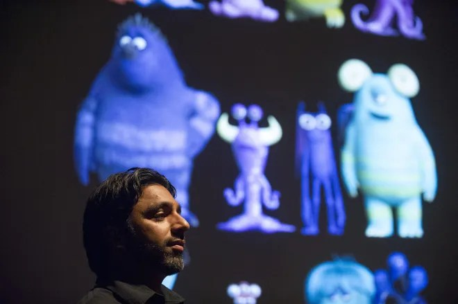 Supervising Technical Director, Sanjay Bakshi talks to press about the technical challenges and achievements of the film at Monsters University Long Lead Press Days. Emeryville, California. April 9, 2013 (Photo by Jessica Lifland/Pixar)