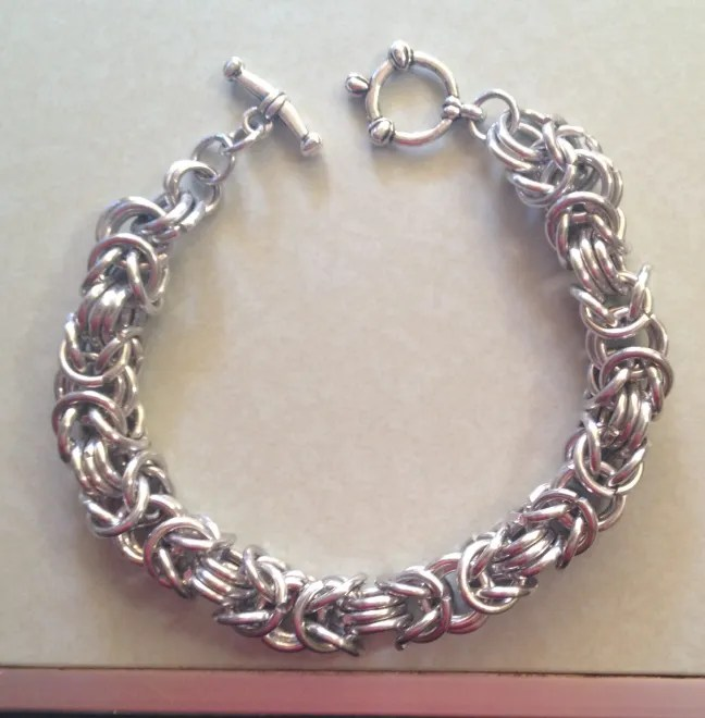 Rory's new chain maille bracelet. Photo: Jenny Williams