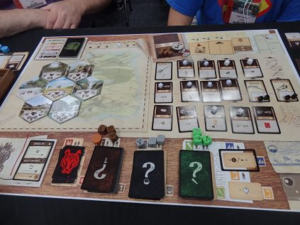 Robinson Crusoe (Z-Man Games/Portal Games) is a cooperative game about surviving as castaways on an island.