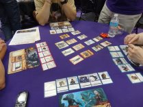 The Pathfinder Adventure Card Game was sold out quickly this weekend, but we did get to try out a demo at the booth. It's a cooperative game with some deck-building elements.