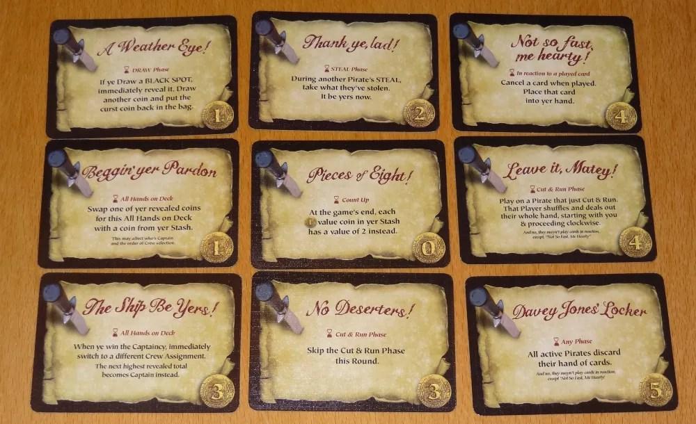 Dread Curse Pirate's Code cards