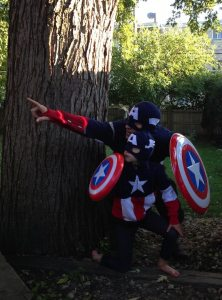 Captain America and Captain America Kid go on an adventure (and in public) quite often.