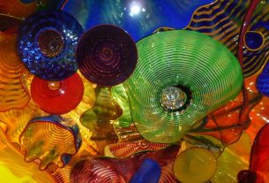 The neon bright blown glass on display at Chihuly Garden and Glass.